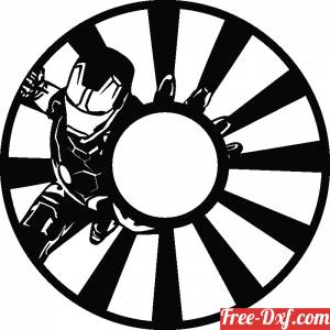 download Iron man wall clock gift for children free ready for cut