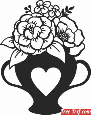 download flowers heart pot cliparts free ready for cut