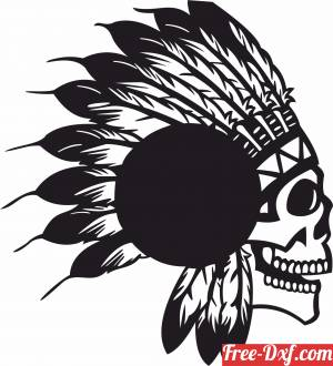 download Indian Apache Skull vinyl clock free ready for cut