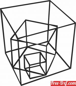 download Geometric Polygon cube free ready for cut