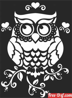 download Owl floral wall decor free ready for cut