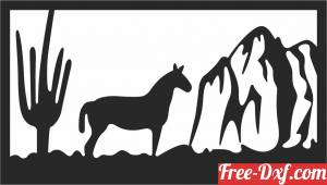 download horse scene wall decor free ready for cut