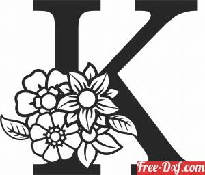 download Monogram Letter K with flowers free ready for cut