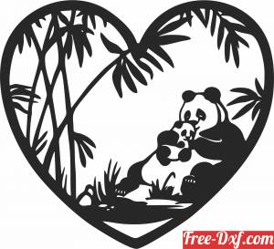 download heart with Panda scene free ready for cut