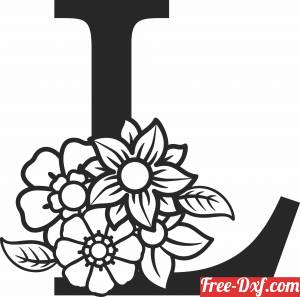 download Monogram Letter L with flowers free ready for cut