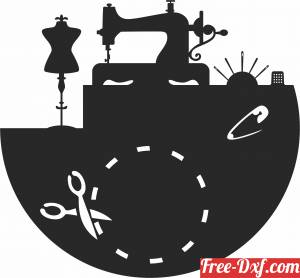 download Sawing Machine Wall Clock Vinyl Record free ready for cut