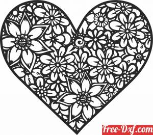 download floral heart clipart free ready for cut