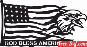 download God bless America Eagle Flag free ready for cut