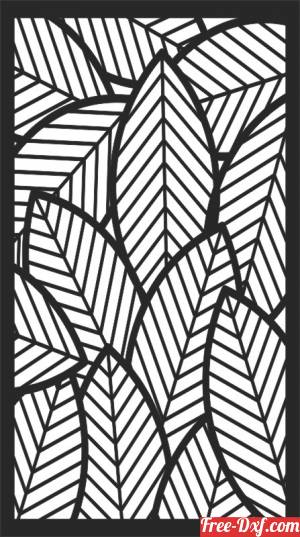 download floral leaves panel decorative wall screen free ready for cut