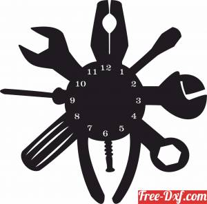 download Mechanical Tools wall Clock free ready for cut