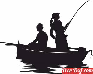 download fishing couple clipart free ready for cut